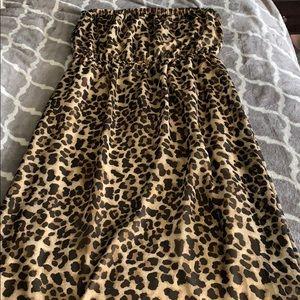 Leopard chiffon maxi dress